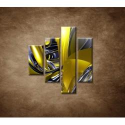 Obrazy na stenu - Žltá abstrakcia - 4dielny 80x90cm