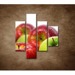 Obrazy na stenu - Červené a zelené jablká - 4dielny 80x90cm