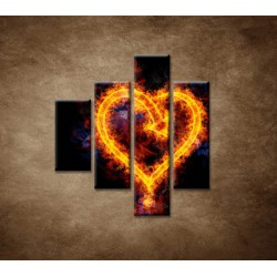 Obrazy na stenu - Ohnivé srdce - 4dielny 80x90cm