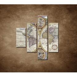 Obrazy na stenu - Stará mapa sveta - 4dielny 80x90cm