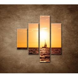 Obrazy na stenu - Západ slnka s jachtou - 4dielny 80x90cm