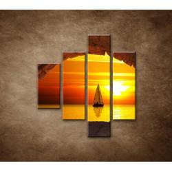Obrazy na stenu - Plachetnica na mori - 4dielny 80x90cm