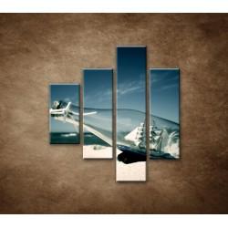 Obrazy na stenu - Loď vo fľaši - 4dielny 80x90cm