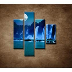 Obrazy na stenu - Nočné vodopády - 4dielny 80x90cm