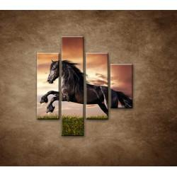 Obrazy na stenu - Čierny kôň - 4dielny 80x90cm