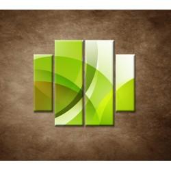 Obrazy na stenu - Zelená abstrakcia - 4dielny 100x90cm