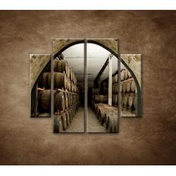 Obrazy na stenu - Sudy v pivnici - 4dielny 100x90cm