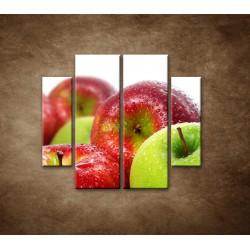 Obrazy na stenu - Červené a zelené jablká - 4dielny 100x90cm