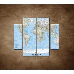 Obrazy na stenu - Politická mapa sveta - 4dielny 100x90cm