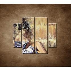 Obrazy na stenu - Maľovaná žena - 4dielny 100x90cm