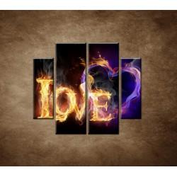 Obrazy na stenu - Horiace srdce - 4dielny 100x90cm