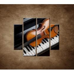 Obrazy na stenu - Husle a klavír - 4dielny 100x90cm