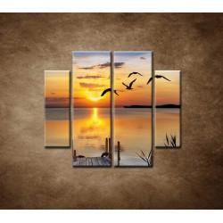 Obrazy na stenu - Západ slnka nad morom - 4dielny 100x90cm