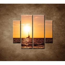 Obrazy na stenu - Západ slnka s jachtou - 4dielny 100x90cm