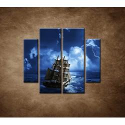 Obrazy na stenu - Búrka na mori - 4dielny 100x90cm