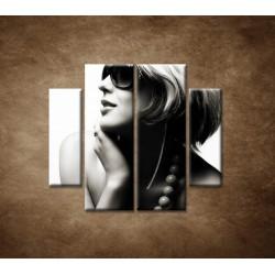Obrazy na stenu - Žena v okuliaroch - 4dielny 100x90cm