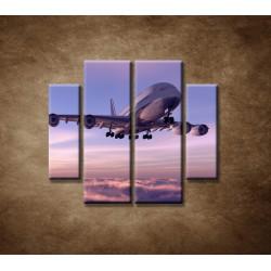 Obrazy na stenu - Lietadlo v oblakoch - 4dielny 100x90cm