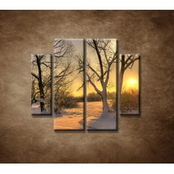 Obrazy na stenu - Krajina v zime - 4dielny 100x90cm