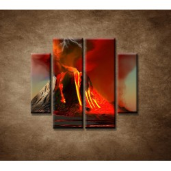 Obrazy na stenu - Sopka - 4dielny 100x90cm