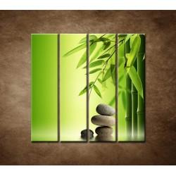 Obrazy na stenu - Bambus a kamene - 4dielny 120x120cm