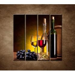 Obrazy na stenu - Víno so sudom - 4dielny 120x120cm