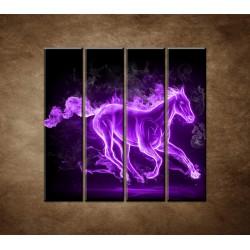 Obrazy na stenu - Fialový horiaci kôň - 4dielny 120x120cm