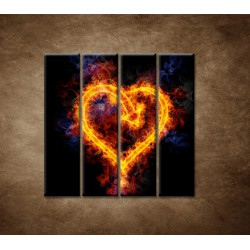 Obrazy na stenu - Ohnivé srdce - 4dielny 120x120cm