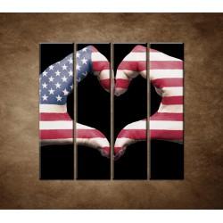 Obrazy na stenu - Amerika v srdci - 4dielny 120x120cm