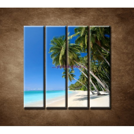 Obrazy na stenu - Pláž s palmami - 4dielny 120x120cm