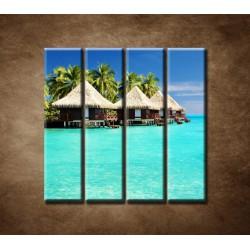 Obrazy na stenu - Chatky na mori - 4dielny 120x120cm