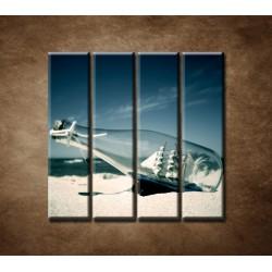 Obrazy na stenu - Loď vo fľaši - 4dielny 120x120cm