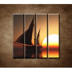 Obrazy na stenu - Západ slnka na mori - 4dielny 120x120cm