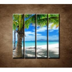 Obrazy na stenu - Pláž s palmou - 4dielny 120x120cm