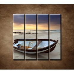 Obrazy na stenu - Loďka na pláži - 4dielny 120x120cm