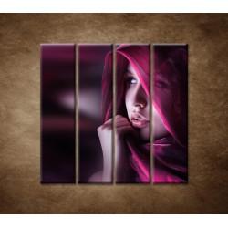 Obrazy na stenu - Žena so šatkou - 4dielny 120x120cm
