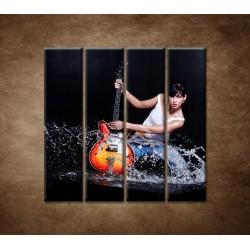Obrazy na stenu - Gitaristka - 4dielny 120x120cm