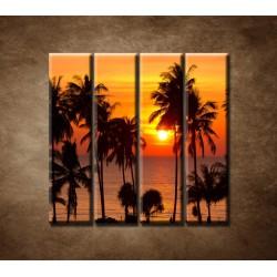 Obrazy na stenu - Západ slnka s palmami - 4dielny 120x120cm
