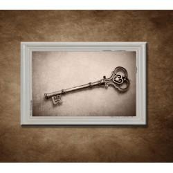 Obraz na stenu - Vintage kľúč - bledý rám