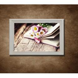 Obraz na stenu - Zátišie s knihou - bledý rám