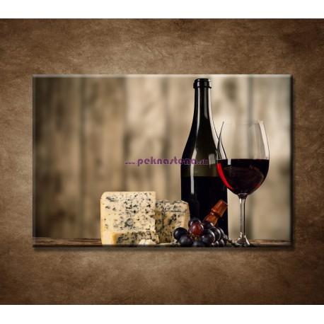 Obrazy na stenu - Víno a syr