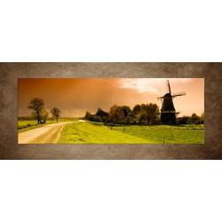 Obrazy na stenu - Západ slnka nad mlynom - panoráma