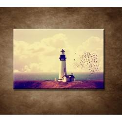 Obrazy na stenu - Maják s kŕdľom vtákov