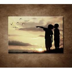 Obrazy na stenu - Deti pri západe slnka