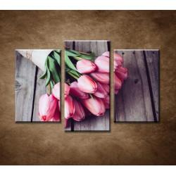 Obrazy na stenu - Jarné tulipány - 3dielny 75x50cm