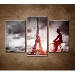 Obrazy na stenu - Muž na bicykli - 3-dielny 75x50cm