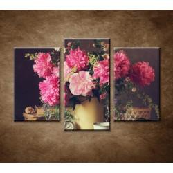 Obrazy na stenu - Zátišie s pivonkami - 3-dielny 75x50cm