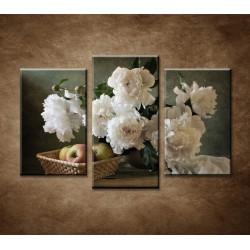 Obrazy na stenu - Pivonky a jablká - 3-dielny 75x50cm