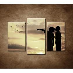 Obrazy na stenu - Deti pri západe slnka - 3dielny 75x50cm