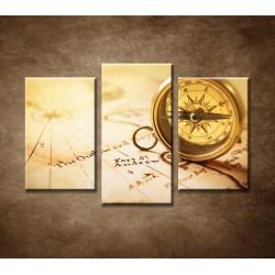Obrazy na stenu - Starý kompas - 3-dielny 75x50cm