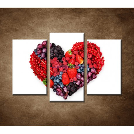 Obrazy na stenu - Ovocné srdce - 3dielny 75x50cm